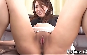 Japanese pussy gets finger drilled as that babe licks big cock