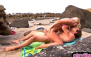 Outdoor quickie sex on the rocky beach with a hot chick