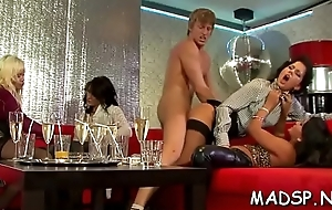 Horny lustful girls have a enjoyment a male treat at a sex party