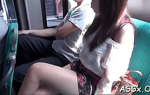 Submissive japanese darling gives awesome blowbang delight