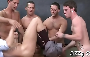 Severe scenes of gay orgy with men getting double screwed