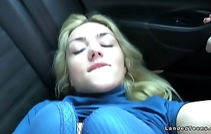 Teen hitchhiker gets cumshot in car