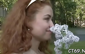 Excited floozy cannot stop performing the passionate blowjob