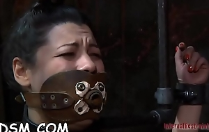 Slave receives lusty ass whipping previous to fur pie torturing
