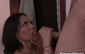 Busty transsexual assfucked after massage