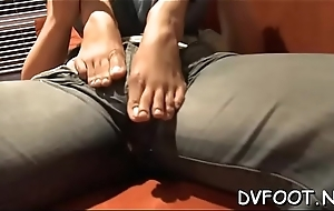 Sexy cutie takes off high heels and gets her hot feet licked