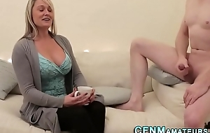 Clothed milf with big tits
