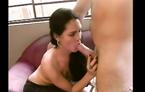 Cute shemale with juicy Bristols blows a pole then get nailed