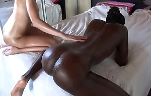 Oiled up Interracial Threesome