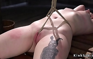 Tied up slave everlasting whipped to red skin