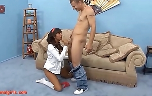 HD Big titty asian gets her asshole fucked and swallows small load