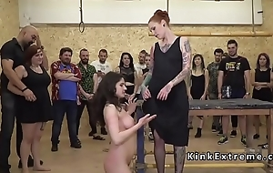 Busty anal banged in public