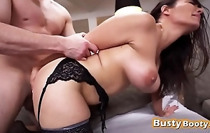 Shapely brunette in sexy black lingerie moaning from doggy style
