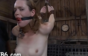 Tied up slave receives taut mask with hard toy in their way pussy