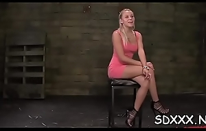 Captivating blond gets forced into a sloppy blowjob